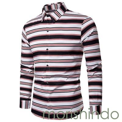 アロハシャツ カジュアルシャツ M ホワイト 長袖 前開き メンズ ハワイ風 春秋服 ビーチシャツ プリントシャツ おしゃれ かわいい