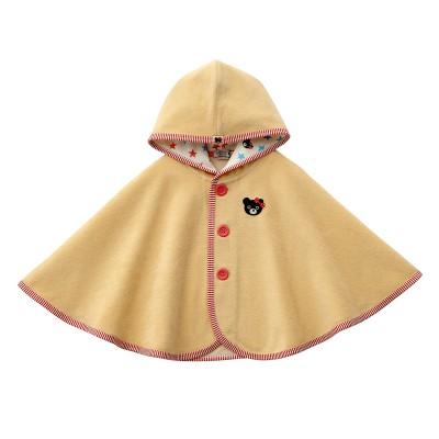 ミキハウス ダブルB ベビー パイル素材ポンチョ【F(70-90cm) ピンク】 女の子