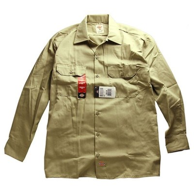 Dickies(ディッキーズ)長袖 ワークシャツ Long Sleeve Work Shirt Khaki US企画(574)スケボー SKATE SK8 スケートボード HARD CORE PUNK パンク HIPHOP