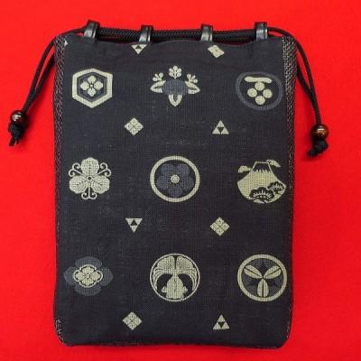 日本紋様と家紋(黒) お祭り信玄袋