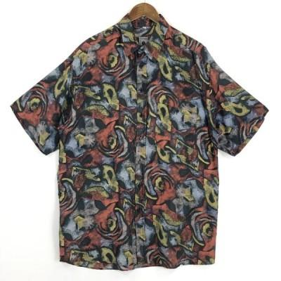 古着 CLUB D'AMINGO 総柄シャツ シルクシャツ 絵画風 サイケ ヴィンテージ 半袖 マルチカラー メンズL 中古 n025022