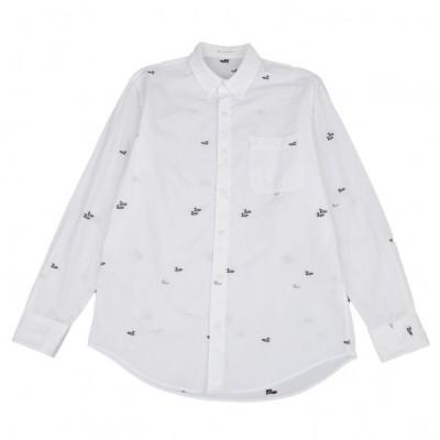 パパスPapas カルガモジャガードボタンダウンシャツ 白48M 【メンズ】