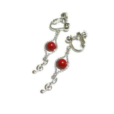 赤珊瑚とト音記号のイヤリング
