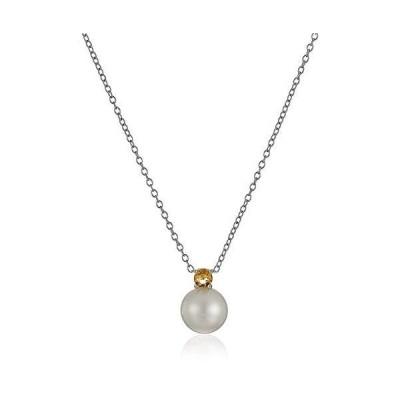 スターリングシルバー 誕生石とホワイト淡水養殖真珠 クラシックペンダントネックレス 18インチ