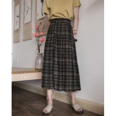 レディース スカート プリーツスカート ひざ下丈 ロング丈 タータンチェック ゆったり 体型カバー 大人可愛い カジュアル こなれ感 秋 コ