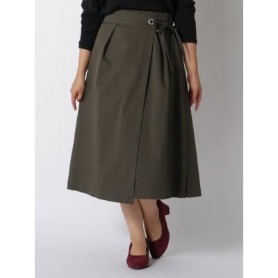 【大きいサイズ】ストレッチツイルラップ風SK 大きいサイズ スカート レディース
