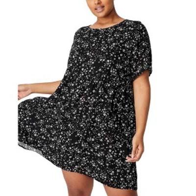 コットンオン レディース ワンピース トップス Women's Trendy Plus Size Good Times Babydoll Mini Dress Black