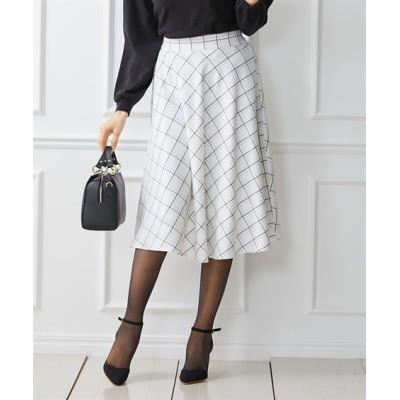 大人フェミニンなチェック柄ミディ丈フレアスカート (ひざ丈スカート)Skirts