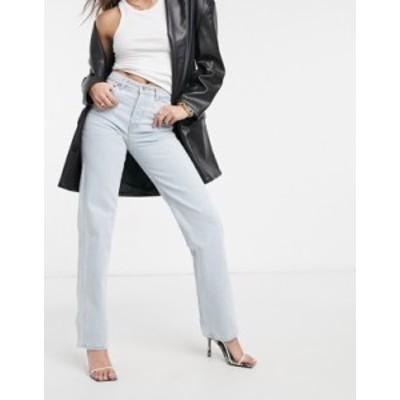 エイソス レディース デニムパンツ ボトムス ASOS DESIGN mid rise '90's' straight leg jeans in ice blue Lightwash