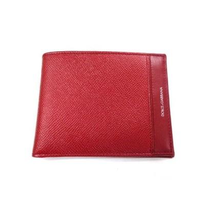 新品 メンズ ドルチェ&ガッバーナ 2つ折財布 レッド×ブラック
