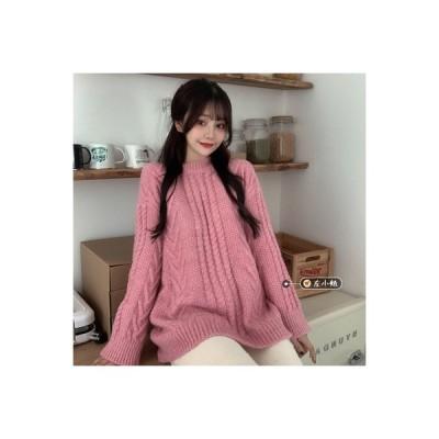 【送料無料】~ ピンクのセーター ルース オーバーサイズ 風 ヘッジ セーターを着る | 364331_A64161-2335994