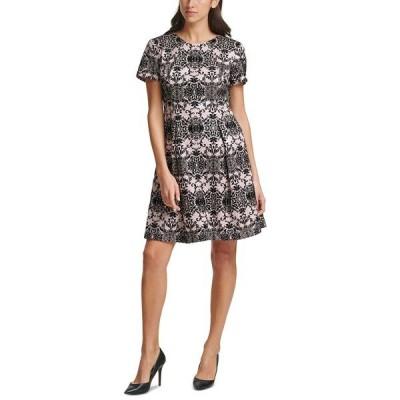 ヴィンスカムート ワンピース トップス レディース Petite Flocked Scuba Fit & Flare Dress Blush