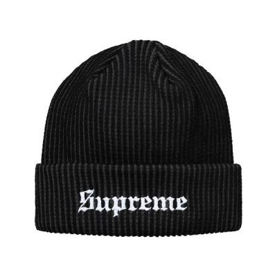 Supreme シュプリーム 2017-18年秋冬 帽子 ニット 2 Tone Rib Beanie ブラック ロゴ