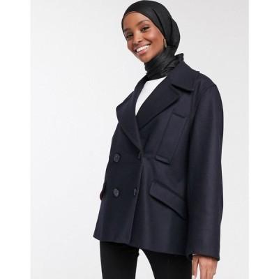フレンチコネクション French Connection レディース コート アウター Carmelira double breasted short coat in blue ユーティリティブルー