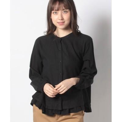【サマンサ モスモス】 裾重ねギャザー前開きブラウス レディース ブラック F Samansa Mos2
