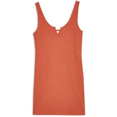 トップショップ TOPSHOP ミニワンピース&ドレス 赤茶色 8 ポリエステル 54% / コットン 46% ミニワンピース&ドレス
