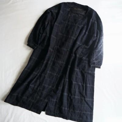 AU GARCONS オーギャルソン レディース ROUND NECK CHECK COAT 丸首 コート ANNA / NAVY PLAID