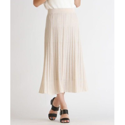 LAUTREAMONT/ロートレアモン 裾シアーが特徴のプリーツニットスカート ベージュ 9号