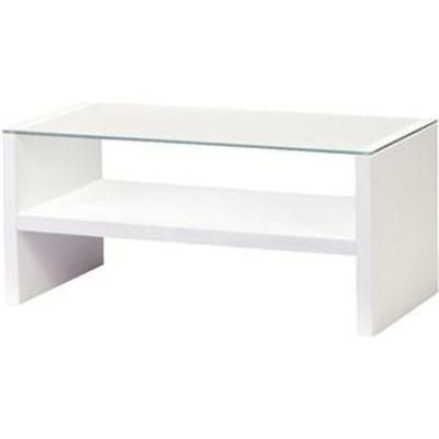ds-690731 リビングテーブル 強化ガラス製(ガラス天板) 棚収納付き HAB-621WH ホワイト(白) (ds690731)
