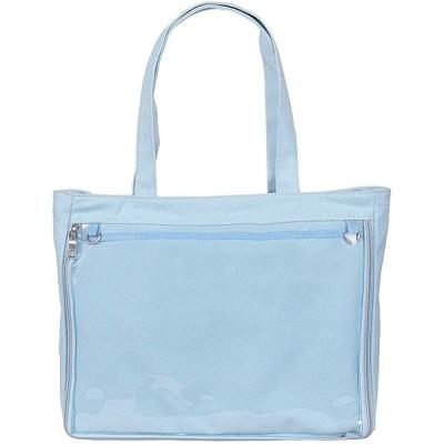 痛バッグ トートバッグ 透明 ビニール 見せバッグ おたく バック かばん デイバック 痛いバッグ 缶バッジ 大容量(ライトブルー)