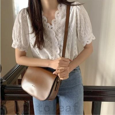 トップスレディースブラウスシャツ半袖スカラップレースフェミニン可愛いきれいめ春夏