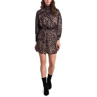 ワンステイト ワンピース トップス レディース Animal-Print Luxe Smocked Mock-Neck Dress Luxe Animal