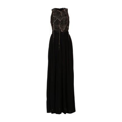 ELISABETTA FRANCHI ロングワンピース&ドレス ブラック 46 レーヨン 95% / ナイロン 4% / ポリウレタン 1% ロング