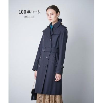 【サンヨーコート】 <100年コート>ダブルトレンチコート(三陽格子) レディース ネイビー 34 SANYOCOAT