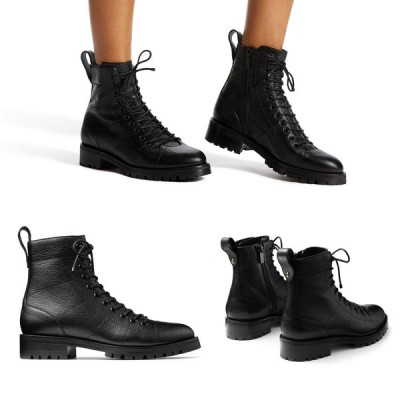 JIMMY CHOO ジミーチュウ レディース ブーツ ショートブーツ アンクルブーツ CRUZ FLAT ブラック 黒 レザー ビジュー