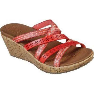 スケッチャーズ レディース サンダル シューズ Women's Skechers Beverlee Tiger Posse Slide Wedge Sandal Coral