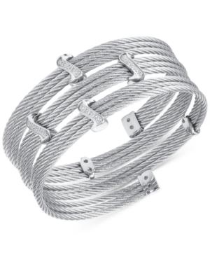 Charriol White Topaz Twist Cable Wrap Bracelet (3/8 ct. t.w.) in Stainless Steel