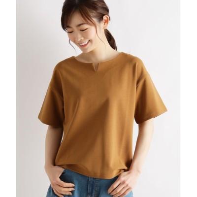 grove / スーピマコットン(綿)混キーネックプルオーバー WOMEN トップス > Tシャツ/カットソー