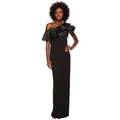 アドリアナ パペル ワンピース トップス レディース Dramatic One Shoulder Long Crepe Gown Black