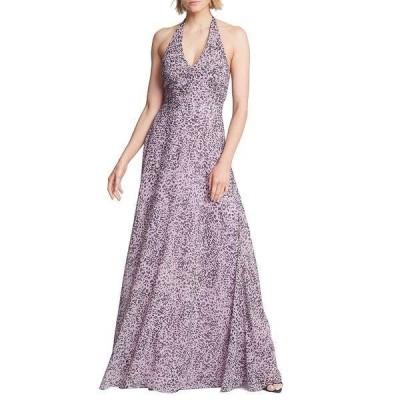 ホルストンヘリテイジ レディース ワンピース トップス Ruched Waist Sleeveless Halter Gown Rose Marble Print