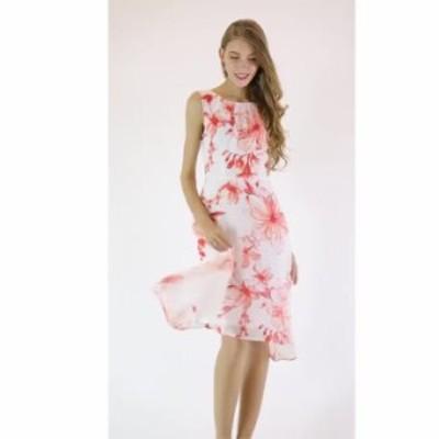 夏 ワンピース ノースリーブ ドレス 安い 可愛い 大人 綺麗め 花柄 不規則 膝丈 OL 通勤 オフィス フレアスカート デート 長袖