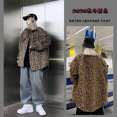 2020ファッション新品高品質韓国版insヴィンテージ豹柄長袖シャツゆったり香港風カジュアルシャツ男女