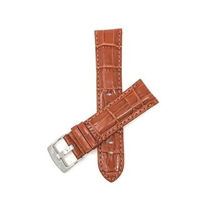 Bandini 28mm Mens Italian Leather Watch Band Strap - Tan - Alligator Patter