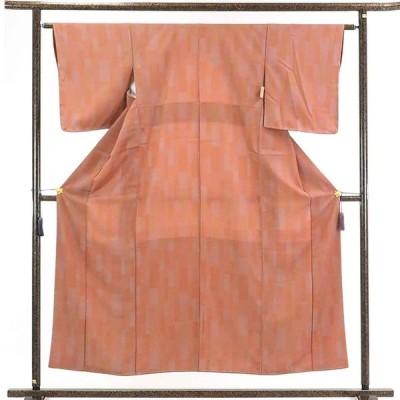 リサイクル着物 小紋 正絹茶ローズ地袷小紋着物未使用品
