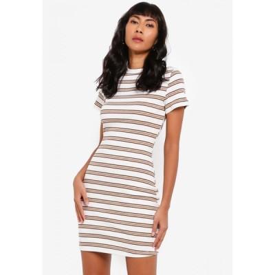 ザローラ Zalora Basics レディース ボディコンドレス ワンピース・ドレス High Neck Cap Sleeve Rib Bodycon Dress White/Brown Stripes