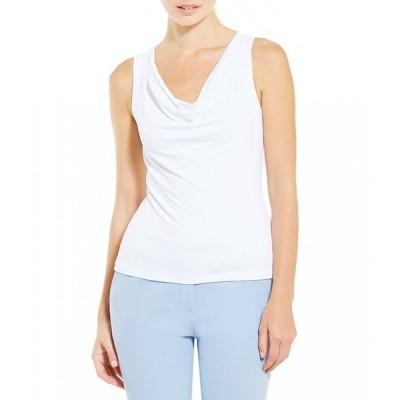 カルバンクライン Calvin Klein レディース ノースリーブ トップス Petite Drape Neck Matte Jersey Shell White