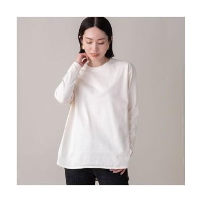 EUCLAID/エウクレイド 綿天竺ロングスリーブTシャツ オフ F
