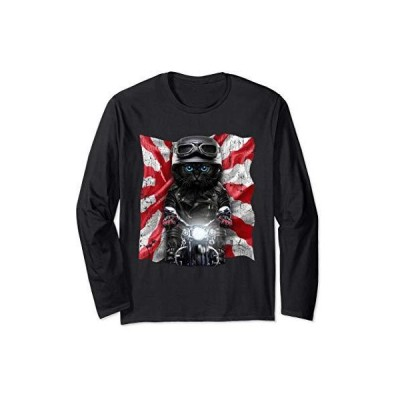 黒ペルシャ猫 ねこ バイク 日本 日の丸 長袖Tシャツ