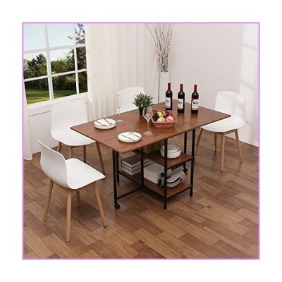 KOTPOP Folding Dining Table, Drop Leaf Folding Extension Dinning Table for Kitchen, Farmhouse Room, Space Saving Table with 2 Storage Racks