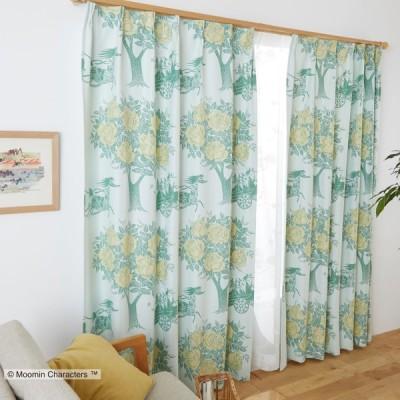 ムーミン 遮光カーテン(1枚)100×135 CARRIAGE キャリッジ(グリーン)A1006 北欧ウォッシャブル 形状記憶加工 国産 日本製