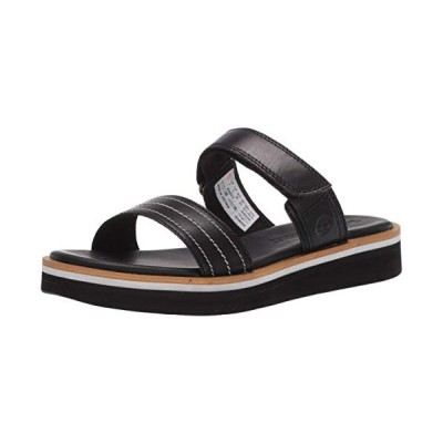 Timberland Women's Adley Shore 2_Band Leather Slide Sandal, Black, 080M Medium US【並行輸入品】