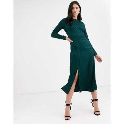 ファッションモンキー レディース ワンピース トップス Fashion Union long sleeve midi dress with dip back and tie detail