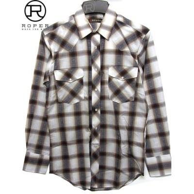 ROPER メンズ ドビー織りチェックパターン ウエスタンシャツ 【ブラウン】 茶 ブラック 黒 ホワイト 白 アメリカ カントリー カウボーイ 乗馬 衣装 上野 アメ横