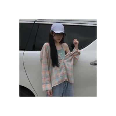 【送料無料】韓国風 ルース グリッドシャツ 女 アウトドア 薄いスタイル 日焼け止め | 364331_A63695-0453230