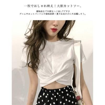 ラウンドネック半袖Tシャツカットソーヘソ出し春夏可愛いトップスレディース()