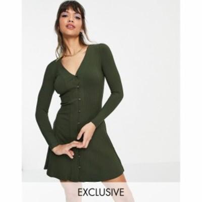 ホイッスルズ Whistles レディース ワンピース ミニ丈 ワンピース・ドレス Exclusive Button Through Ribbed Mini Dress In Khaki カーキ